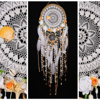 White Dreamcatcher Wedding Mermaid Сrescent Dream Catcher Large Dreamcatcher beigedreamcatchers boho dreamcatcher wall decor white wedding