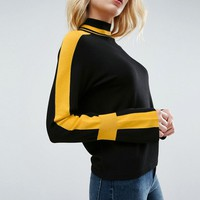 ASOS Sweater with High Neck and Sports Tipping at asos.com