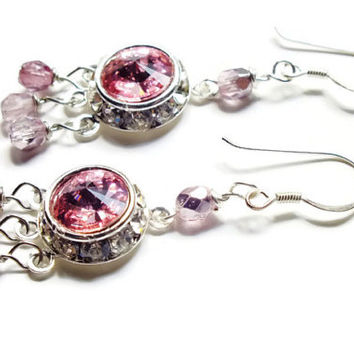 Pink Swarovski Earrings, Light Rose Sterling Silver Dangles, Rivoli Czech Crystal Earrings