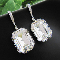 Bridal Earrings Rodium plated over Sterling by earringsnation