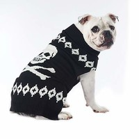 Wag-A-Tude Black Skull and Bones Sweater | Petco