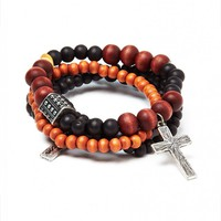 Icon Brand Bracelet in Mixed Beads with Cross - Jewellery - Accessories | Shop for Men's clothing | The Idle Man