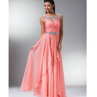 Light Coral Chiffon & Stone Bateau Gown 2015 Prom Dresses