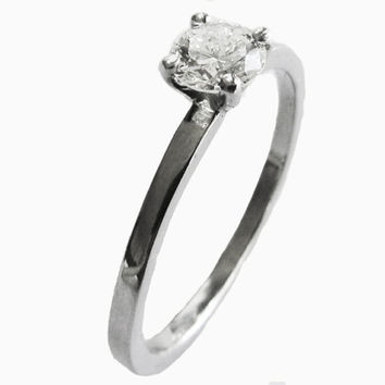 14K Gold Ring, Diamond Ring, Solitaire Engagement Ring,Round Cut 0.44 carat H SI 14K White Gold, Bridal Jewelry