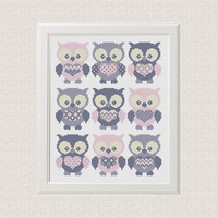 Instant Download Free shipping baby cross stitch pattern pdf Owl Set of 9 animal sampler cross stitch modern baby girl decor room pink  gray