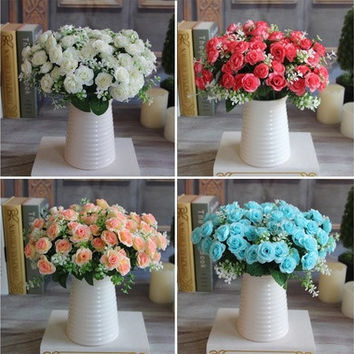 Charming 15 Buds 1 Bouquet Mini Rose Artificial Silk Flower Decoration [7983317319]