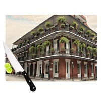 "Sylvia Cook ""New Orleans Street Corner"" Green Brown Cutting Board"