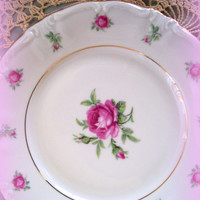 Vintage Bavaria China First Love Bread and Butter Plates Discontinued 1940's with Roses Set of 7