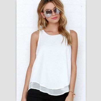 LMFONQK Lossky Individual Tee Shirt Femme 2016 Summer Style Women Tops Sleeveless Double Layer Ropa Mujer Loose blusas White Blouse