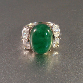 Sterling Chrysoprase Ring, Cubic Zirconia Diamond, Art Deco Style, Jade Cocktail Statement Ring, Gift For Her, Size 8
