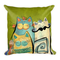PILLOW 18x18 with Insert - Green OR Pink - Cats - Nursery Room - Illustration lovers - Studio Decor - Gift for Him - Gift for Her