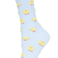 Fluffy Chick Socks - Pale Blue