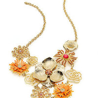 Style&co. Necklace, Gold-Tone Orange and Pink Flower Bib Necklace - Fashion Necklaces - Jewelry & Watches - Macy's