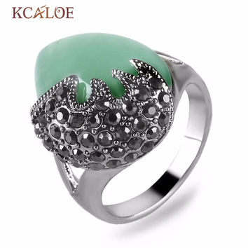 Jade Big Vintage Ring Imitation Ruby Anillos Con Piedras Naturales Antique Silver Rings for Women Yellow agate stone ring