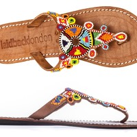 Simba flat mid brown - SANDALS