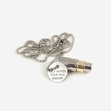 Fighting Hunger Bullet Necklace - Silver, Gold, Silver