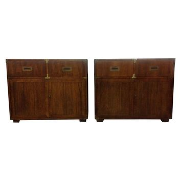 Pre-owned Vintage Henredon Campaign Chests -A Pair