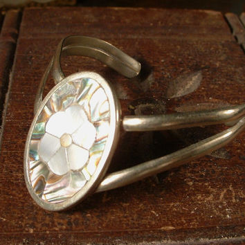 Mexican Alpaca Silver Inlaid Abalone and Mother of Pearl Cuff Bracelet Vintage
