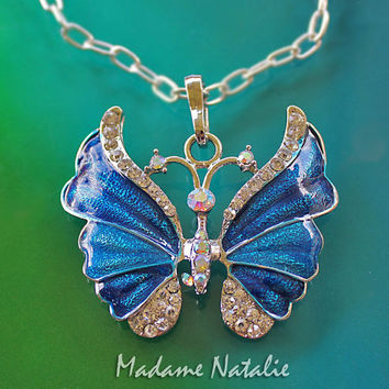 Blue Butterfly Pendant, Blue Enamel and Rhinestone Butterfly Pendant, Blue and Silver Butterfly, Blue Sapphire Butterfly Pendant