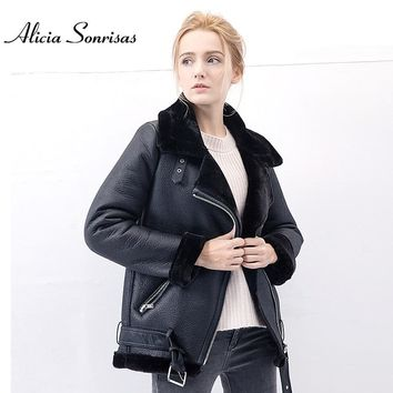 Women Winter Faux Sheepskin Shearling Coats Women Vintage Motorcycle Thicken Jacket Warm Artificial Fur Black Red Coats UV3081