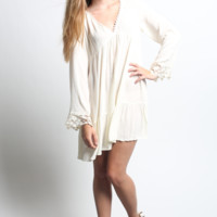 Kori America V-Neck Bell Sleeve Dress