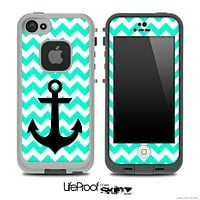 Trendy Light Green/White Chevron with Black Anchor Skin for the iPhone 5 or 4/4s LifeProof Case