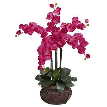 Artificial Flowers -Ruby Phalaenopsis With Decorative Vase Flower Arrangement