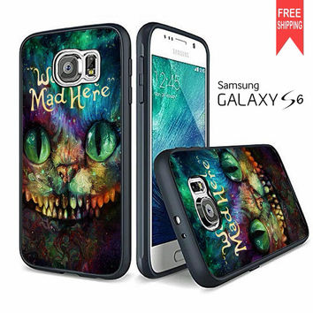 Cheshire Cat Alice In Wonderland We're All Mad Here Colorful Samsung Galaxy S6 Case