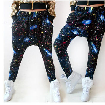 Large crotch Harem pants for women fashion Street Dance loose style Stage performances Hip hop pants Tie dye Starry sky trousers