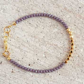 Bohemian Minimalist Jewelry Purple Dainty Stack Glass Gold Beaded Bracelet Boho Chic