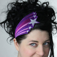 Retro Shooting Stars Headband Embroidered Purple by JanineBasil