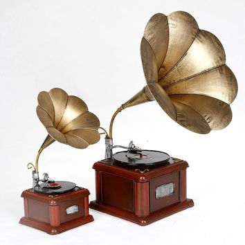 Retro Gramophone Vintage Hand Made Tin Metal Art Bar Decor Model Phonograph Vinyl Record Players