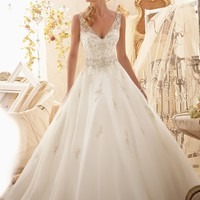 Mori Lee 2618 Sheer Back A Line Wedding Dress