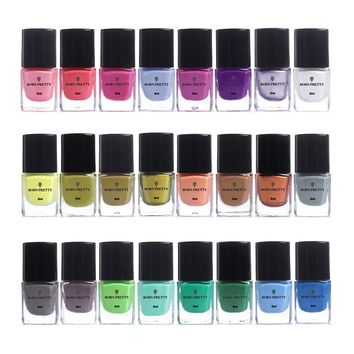 BORN PRETTY Colorful 1Bottle 6ml Nail Stamping Polish Nail Art Stamp Plate Printing Polish Candy Colors Nail Art Varnish