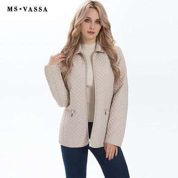 MS VASSA New Ladies jacket Women Spring Autumn classic quilting Parkas jacket plus size S-7XL padded jacket happy size outerwear