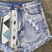 Sequin Aztec Crop Shorties