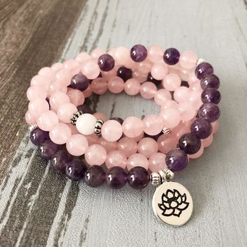 Hottest Woman Mala Necklace & bracelets For Women Rose Quartzs Amethysts Yoga Bracelet Mala Lotus 108 Beads Pink Bracelet