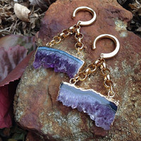 Amethyst Slice Ear Weights - Earrings for Stretched Lobes - Plugs - Gauges