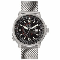 Citizen BJ7008-51E Men's Nighthawk Black Dial Steel Mesh Bracelet Eco-Drive Dive Watch