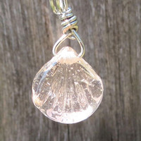 Peach Clam Shell Glass Necklace