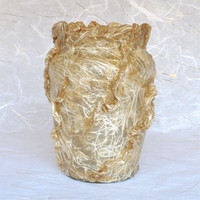 Vase - Fluted Glass featuring Silk Threads Natural 3-D Texture