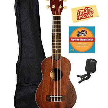 Kala MK-S Makala Soprano Ukulele Bundle with Gig Bag Clip-On Tuner Austin Bazaar Instr