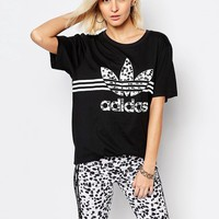 adidas Originals Oversized T-Shirt With Inked Print Trefoil Logo