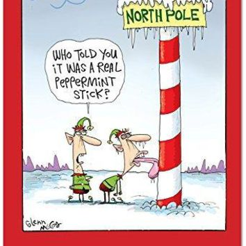 12 Boxed 'Frozen Tongue' Christmas Cards with Envelopes,Hilarious Happy Holidays with Elf Licking a Frozen Pole Christmas Notes, Silly Santa's Helpers, Funny Elves