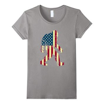 Bigfoot Sasquatch American Flag T-Shirt- Funny 4th of July
