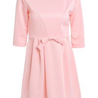 Jewel Neck 3/4 Sleeve Solid Color Bowknot Decorated Dress