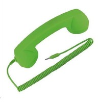 Universal Classic Coco Retro Telephone Style Phone 3.5mm Handset with Pickup - Hangup Button - Mic for iPhone - iPad - iPod - iPad 2 - AT&T - Sprint - Verizon iPhone - Android phones and More - Soft Touch - Green
