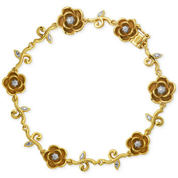 Diamond Accent Rose Bracelet in 18k Gold over Silver-Plated Bronze - Bracelets - Jewelry & Watches - Macy's
