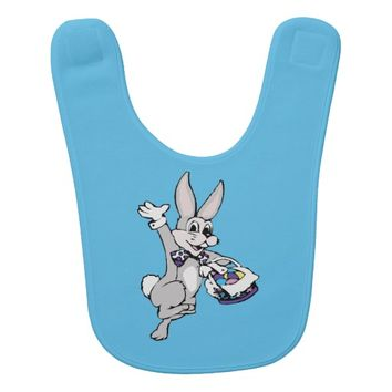 Easter Bunny w/ Colored Eggs Basket Happy Easter Baby Bibs