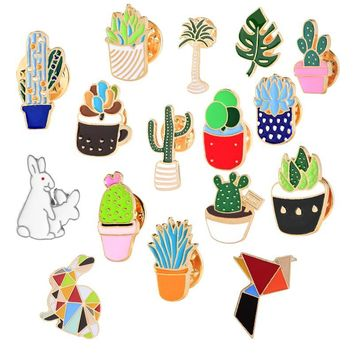 Trendy Cartoon Rabbit Bird Badge Pin Metal Button Mini Plant Potted Cactus Brooches Women's Denim Jackets Collar Enamel Pins Brooch Hot AT_94_13